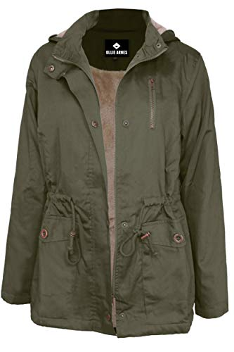 OLLIE ARNES Women's Quilted or Inner Fur Lined Sherpa Anorak Down Parka Jacket J85_Olive M