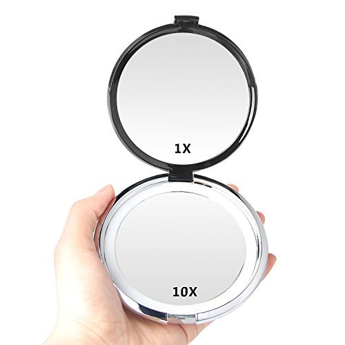 Compact Mirror,E'YOBE 1X/10X Lighted Magnifying Mirror, - 4.13 Inches Travel Makeup Mirror,Daylight LED,Compact,Portable for Purses