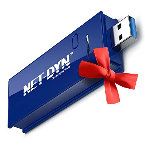 NET-DYN USB Wireless WiFi Adapter,AC1200 Dual Band, 5GHz and 2.4GHZ (867Mbps/300Mbps), Super Strength So You Can Say Bye to Buffering, for PC or Mac, for Desktop or Laptop