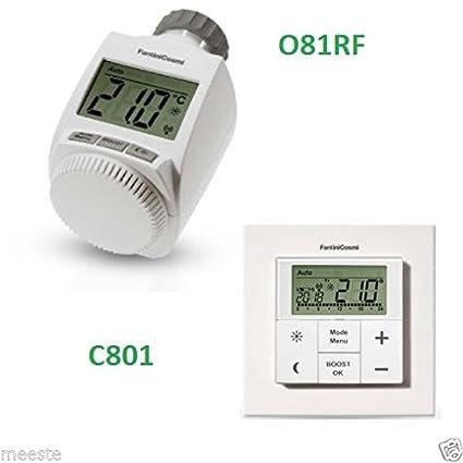 Fantini Cosmi C801 + O81RF - Sistema inalámbrico con cronotermostato y cabezal termostático