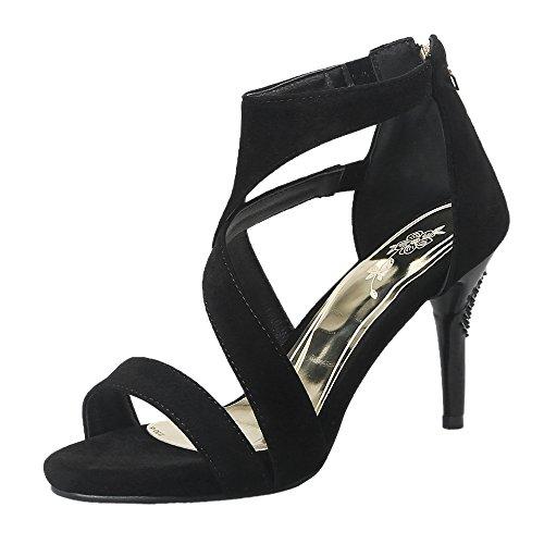 Black Ouvert Sandales Femmes JOJONUNU Bout Aiguille ExwPXFPqnf