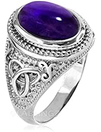 Sterling Silver Celtic Purple Amethyst February Birthstone Ring