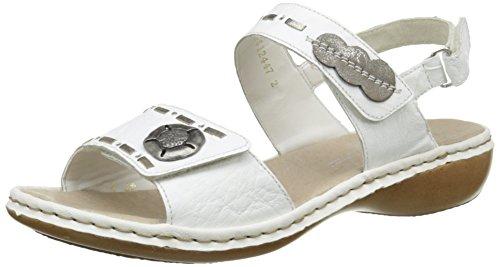Rieker Damen 65972 81 Sandalen Weiß - Blanc (Weiss/Grey/Altsilber)