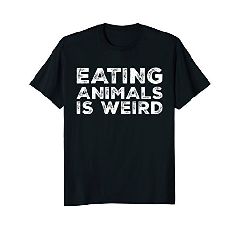 Mens Eating Animals Is Weird T-Shirt - Vegan Vegetarian Funny Tee Medium Black