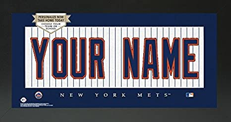 Amazon.com: NY Mets MLB Custom jersey placa enmarcado cartel ...