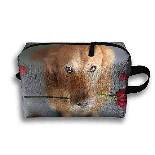 Rose Dog Travel Bag Cosmetic Bags Brush Pouch Portable Makeup Bag Zipper Wallet Hangbag Pen Organizer Carry Case Wristlet Holder]()