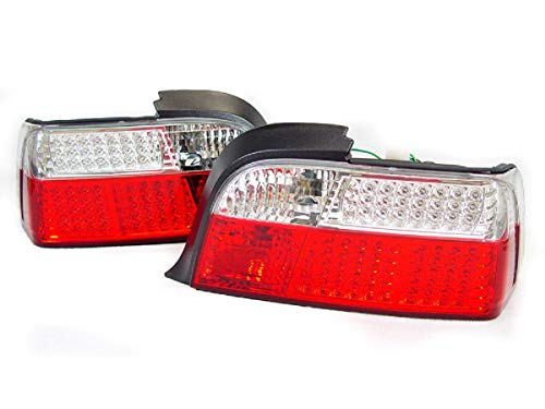 DEPO LED Red/Clear Tail Lights Rear Lamps Compatible and Fits for BMW 1992-1999 3-Series E36 2D Coupe/Convertible / M3 Only