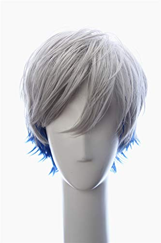 Weave Wigs Man's Short Parzival Gray and Blue Cosplay Wig