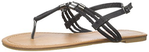 The Bay Womens Roman Gladiator Sandals Flats Thongs Shoes W/Metal Trim Blk-7 (Shoes Roman Sandals)