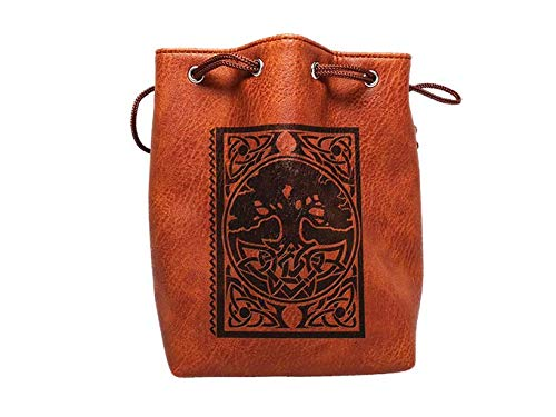Brown Leather Lite Large Dice Bag with Spell Book Design - Brown Faux Leather Exterior with Lined Interior - Stands Up on its Own and Holds 400 16mm Polyhedral Dice