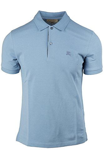 BURBERRY Men's Short Sleeve t-Shirt Polo Collar Oxford Blu US Size S (US 36) - Us Burberry