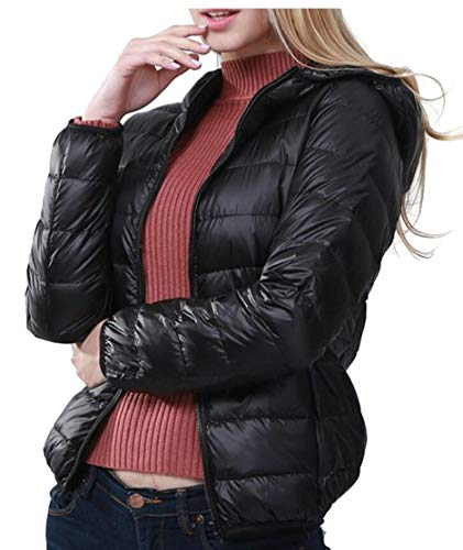 Winter Outwears EKU Black Coat Women's Lightweight Down Packable Hooded Jackets Down 5qOxzrq