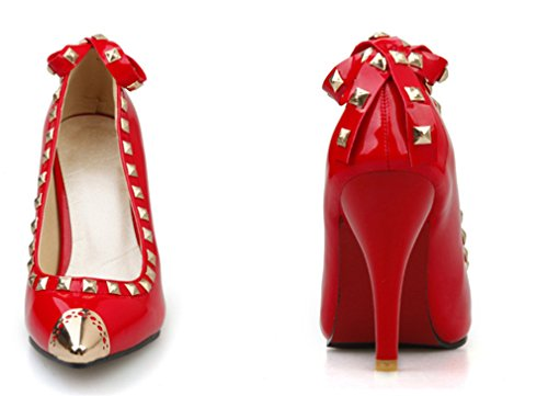 Regina Colori Mid Scarpe Alti Sandali Punta Heels Party Lucky Rivet Dancing Clover Sexy Donna eu45 red Tacchi Girls Bridal a 3 Wedding qFHw64B