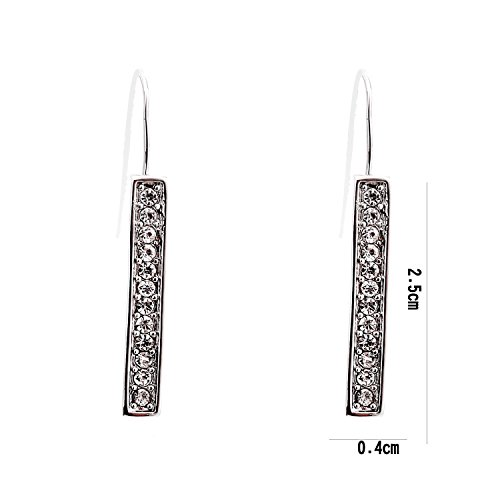 Lureme® européen ton or français simple bar crochet de doublure rétro vintage avec cristal balancent boucle d'oreille (02002582-A)