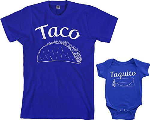 Threadrock Taco & Taquito Infant Bodysuit & Men's T-Shirt Matching Set (Baby: 24M, Royal Blue|Men's: L, Royal Blue)]()