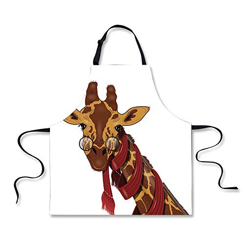 BBQ Apron,Cartoon,Illustration of Giraffe Wearing Glasses in a Red Scarf Smart Looking Fun Art,Redwood Marigold, Apron.29.5