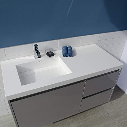 Vanity-top Bathroom Sink made of solid surface, with an overflow and decorative drain cover. Sink is on the left.00 - no faucet holes, W: 48