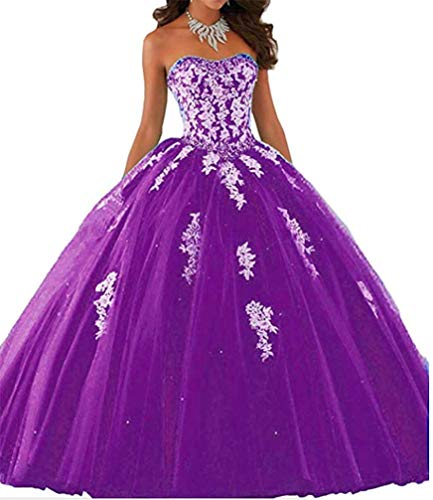 Elley Women's Lace Applique Sweet Sixteen Girl Birthday Party Backless Long Tulle Quinceanera Dress Dark Purple US2]()