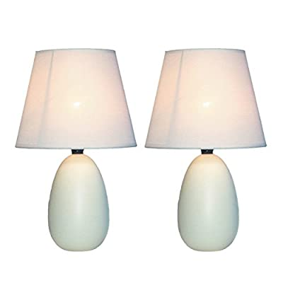 Simple Designs LT2009-OFF-2PK Mini Oval Egg Ceramic Table Lamp 2 Pack Set,Off-White - A lovely, inexpensive, and practical table lamp set to meet your basic fashion Lighting needs These mini lamps feature an oval shaped ceramic base and matching fabric Shades Perfect for living room, bedroom, office, kids room, or college dorm - lamps, bedroom-decor, bedroom - 41AAHDhbMsL. SS400  -