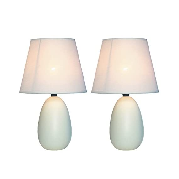 Simple Designs LT2009-OFF-2PK Mini Oval Egg Ceramic Table Lamp 2 Pack Set,Off-White - A lovely, inexpensive, and practical table lamp set to meet your basic fashion Lighting needs These mini lamps feature an oval shaped ceramic base and matching fabric Shades Perfect for living room, bedroom, office, kids room, or college dorm - lamps, bedroom-decor, bedroom - 41AAHDhbMsL. SS570  -