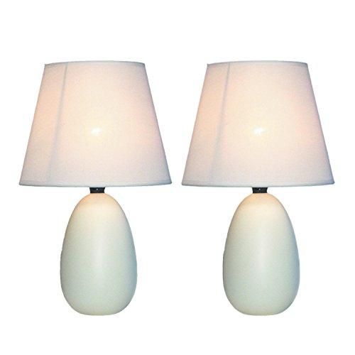 Simple Designs LT2009-OFF-2PK Mini Oval Egg Ceramic Table Lamp 2 Pack Set,Off-White (Cheap Table Lamp Sets)