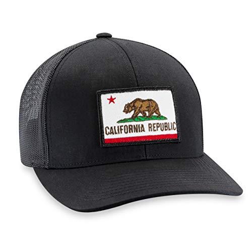 (California Flag Hat - Trucker Mesh Snapback Baseball Cap - Black)