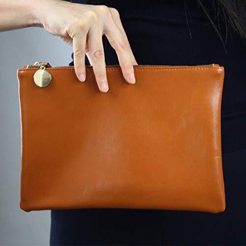 Genuine Patent Tan Hand Brown Bag Black Envelope Brown Clutch Leather Lambskin Real Brown HZqdxwEff