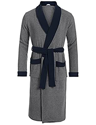 L'amore Robe Men's Thick Flannel Long Sleeve Bathrobe Warm Pajamas Homewear