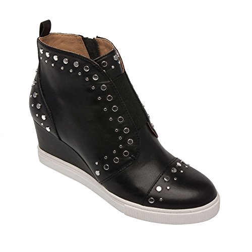 Felicity | Micro Stud Embellished Leather Fashion Wedge Sneaker Bootie Black Leather 11M