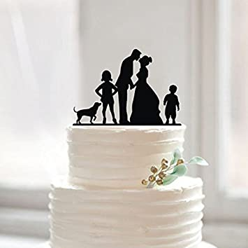 Amazon wedding cake topper with dog personalized bride and wedding cake topper with dog personalized bride and groom silhouette cake toppers with kids for junglespirit Image collections