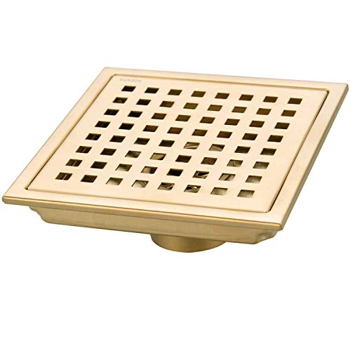 TRUSTMI 6 Inch Square Shower Floor Drain with Removable Grid Grate Cover, SUS 304 Stainless Steel,Brushed Gold