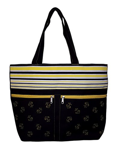 (Anchor and Striped Tote Beach Bag with Front Pockets - Personalization Available (Blank - Black))