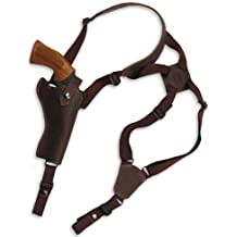 """Barsony New Brown Leather Cross Harness Vertical Shoulder Holster for 4"""" 38 357 44 Revolvers"""