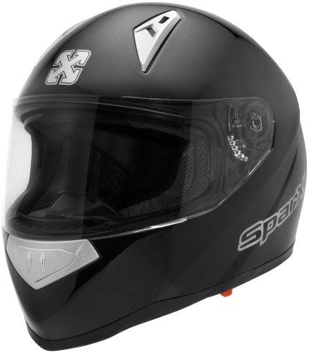 Sparx Tracker Solid Helmet, Distinct Name: Matte Black, Primary Color: Black, Helmet Type: Full-face Helmets, Helmet Category: Street, Size: Md, Gender: Mens/Unisex 843782