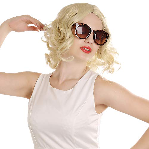 SiYi Short Curly Blonde Wig for Grandmother lady's Wigs Heat Resistant Synthetic Costume party Full Wigs for Woman