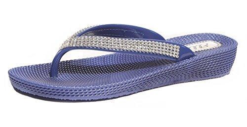 Damen mit Flach niedrig Keil Sommer Beach Evening Zehensteg Flip Flops Schuhe Sandalen Dunkelblau
