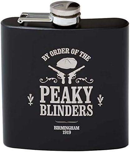 Image of Petaca negra inspirada en Peaky Blinders de 170 ml, ideal para fiestas de ciervos, bodas, cumpleaños, se envía en una caja de stock