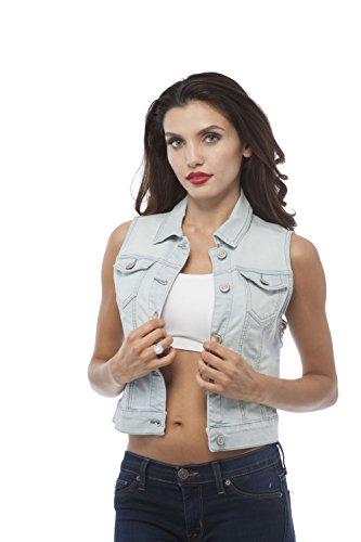 Hollywood Star Fashion Sleeveless Button up Jean Denim Jacket Vest