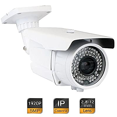 GW Security 5MP 2592 x 1920 Pixel Super HD 1920P Outdoor Weatherproof PoE H.265 Security Bullet IP Camera with 2.8-12mm Varifocal Zoom Len and 72Pcs IR LED up to 196FT IR Distance from GW Security Inc