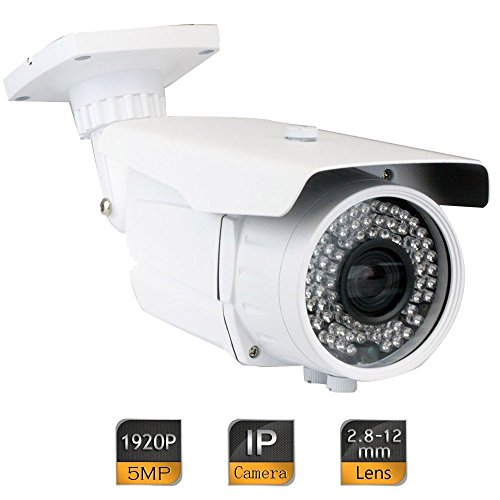 GW Security 5MP 2592 x 1920 Pixel Super HD 1920P Outdoor Weatherproof PoE H.265 Security Bullet IP Camera with 2.8-12mm Varifocal Zoom Len and 72Pcs IR LED up to 196FT IR Distance