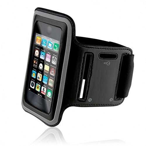 Sports Workout Armband Black Premium Neoprene Running Gym Case for Boost Mobile ZTE Warp Sync - Net10 LG G3 - Net10 Samsung Galaxy Note 2 - Sprint LG G Flex 2