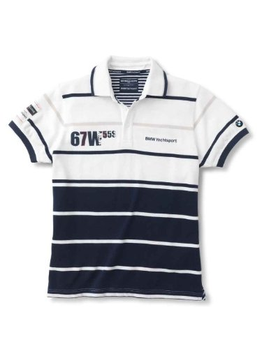 BMW Original Yachting Polo para hombre blanco color azul oscuro ...