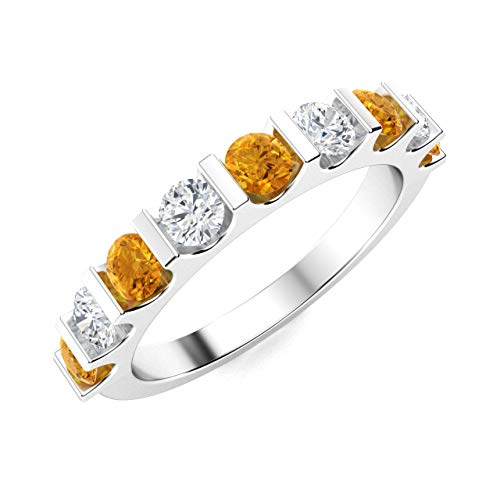 Diamondere Natural and Certified Citrine and Diamond Wedding Ring in 14K White Gold | 0.96 Carat Half Eternity Stackable Band for Women, US Size 6.5