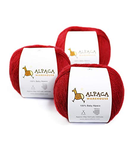 100% Baby Alpaca Yarn Wool Set of 3 Skeins Lace Weight (Red) ()