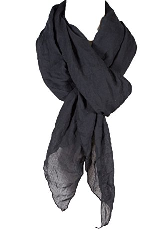 Cotton Solid Color wrinkle Linen Scarf, fashion scarf, multi color, beach scarf (Black Linen Scarf)