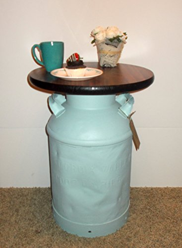 Vintage Milk Can End Table, Powder Blue