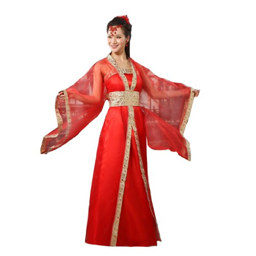 Bysun Women Ancient Royal Dress Performance Cosplay Red with Gold edgeFS -