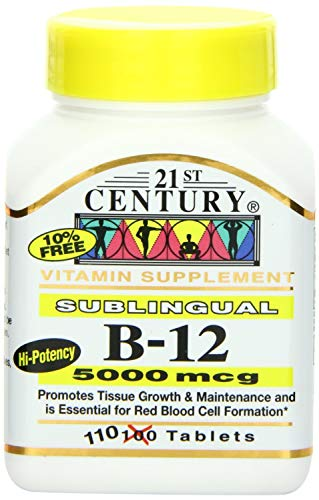 5000 Tablets Mcg Sublingual (21st Century B-12 5000 Mcg Sublingual Tablets, 110-Count (Pack of 2))