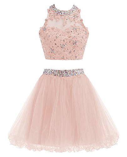 070899d9209 MEILISAY Meilishuo Two Pieces Beaded Sparkly Prom Ball Gown Short Mini  Homecoming Dresses 2 Piece Cocktail