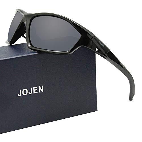 JOJEN Polarized Sports Sunglasses for Men Women Running Cycling Fishing Hunting Golf Tr90 Ultralight Unbreakable Frame TAC Lens JE008(Black Frame Grey Revo Lens 19)